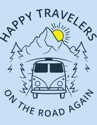 happy travelers adobe illustrator vector logo