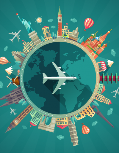 adobe illustrator vector travel around the world flat concept