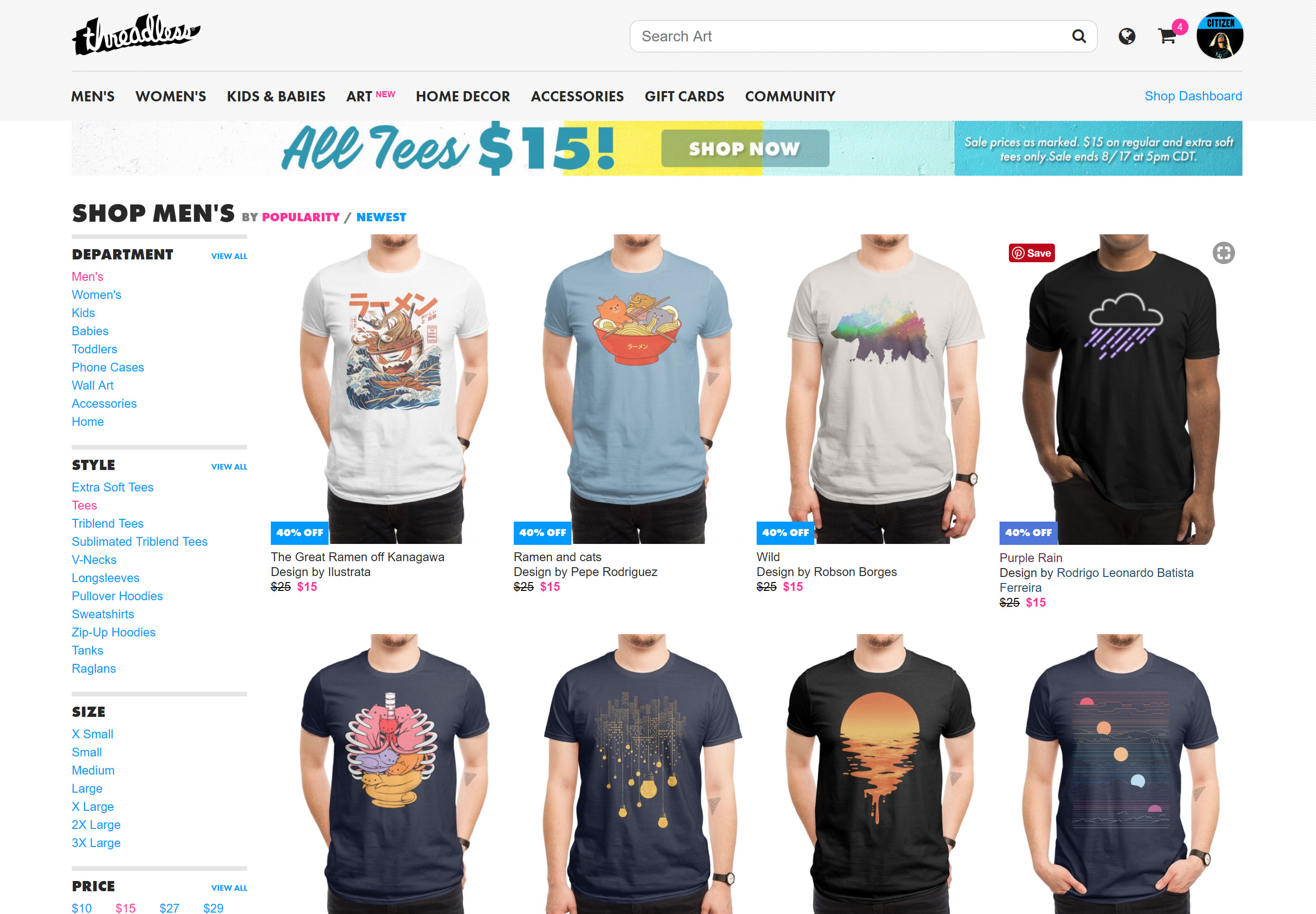 threadless graphic design apparel and merchandise store