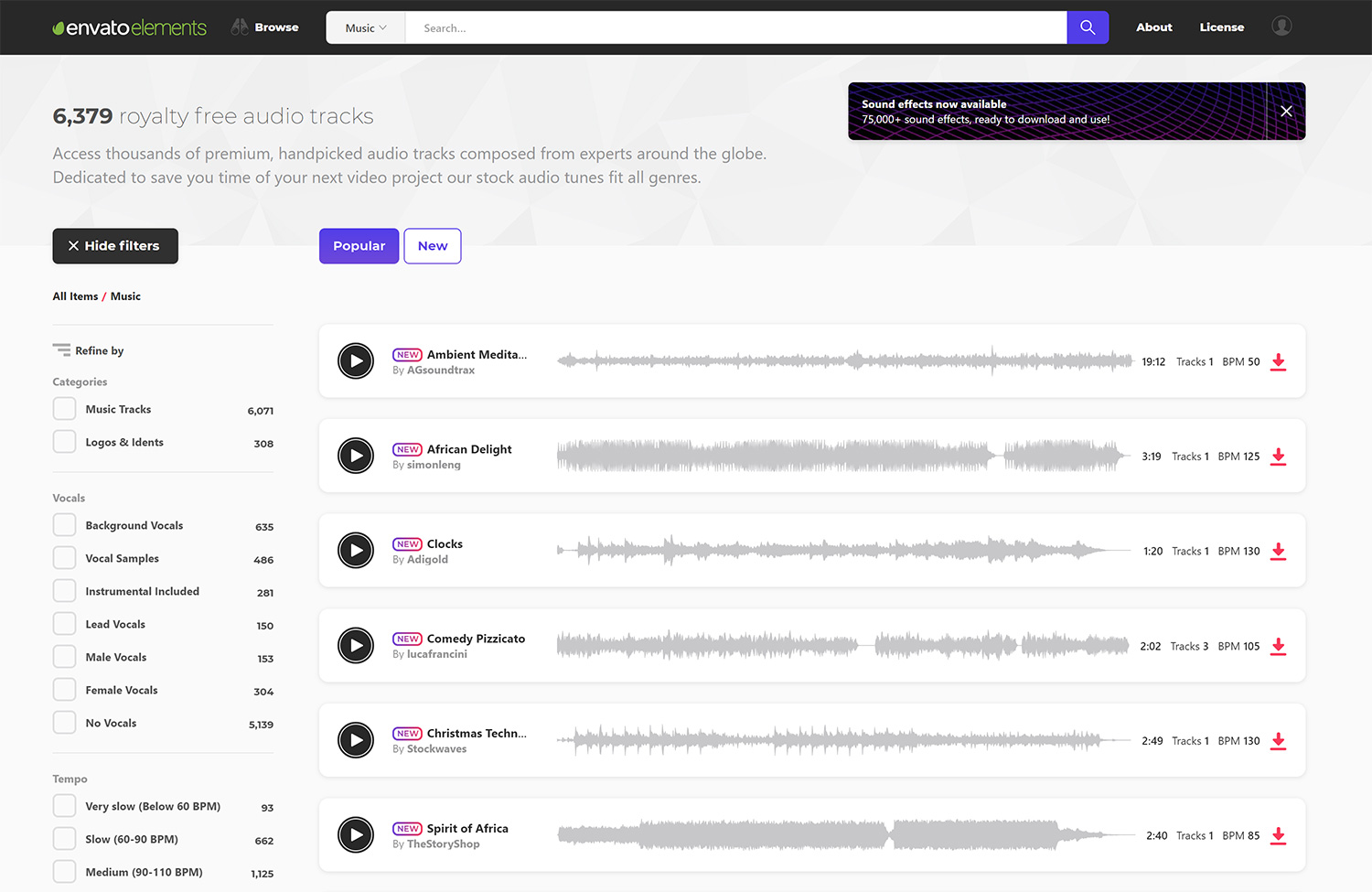envato elements royalty free music audio tracks
